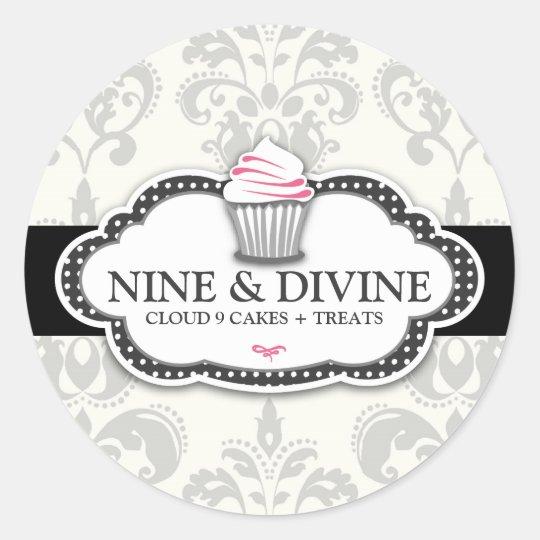 311 Divine Grey Damask Cupcake Sticker