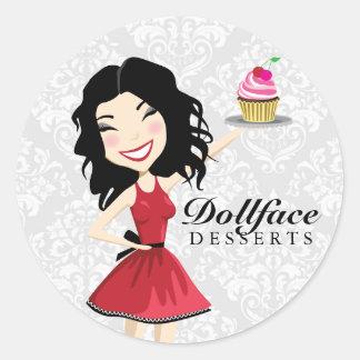 311 Dollface Desserts Kimmie Damask Classic Round Sticker