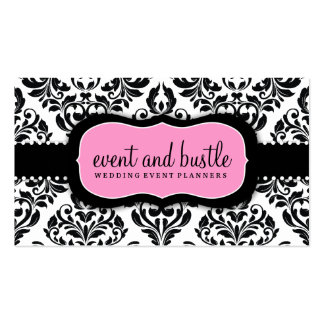 311 Event & Bustle White Damask Business Card Templates