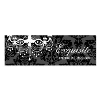 311 ExquisiteWhite Chandelier Damask Mini Business Card