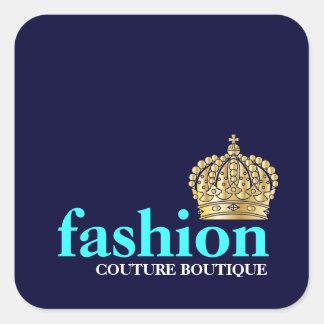 311 Fashionably Bold Tiara Navy Blue Square Sticker