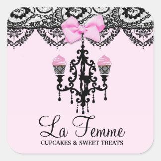 311 gâteaux Deux rose de Femme de La Sticker Carré