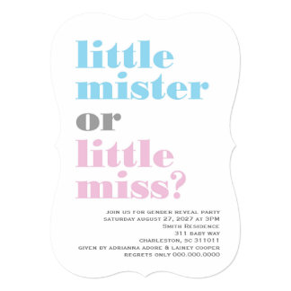 "311 Gender Reveal Little Mister Little Miss 5"" X 7"" Invitation Card"