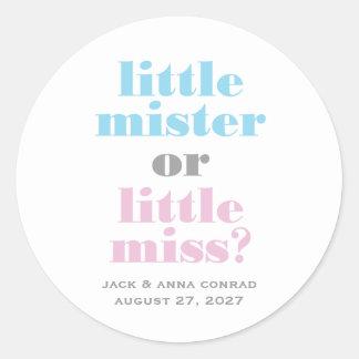 311 Gender Reveal Little Mister, Little Miss Classic Round Sticker