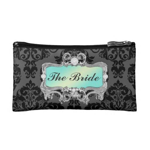 311 Glam Crazy Bride Aqua or DIY Clutch Cosmetic Bags