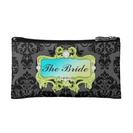 311 Glam Crazy Bride Lime Aqua or DIY Clutch Cosmetics Bags