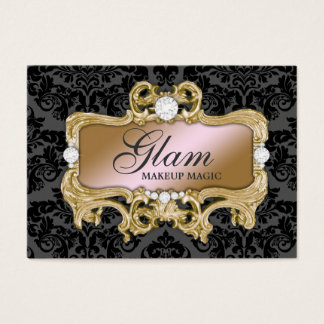 311 Glam Crazy Pink Gold Damask Business Card
