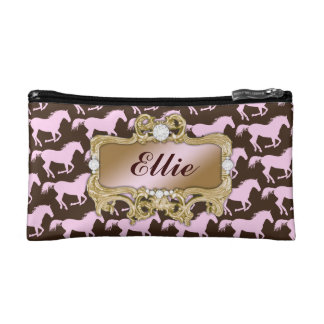 311 Glamorous Cowgirl Pink Horse Print Makeup Bags