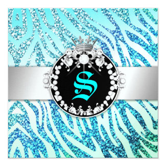 311 Glitter Queen Zebra AquamarineMetallic(AnyAge) Card