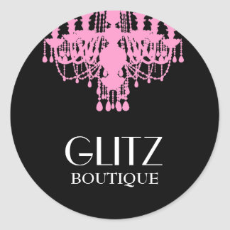 311 Glitz Boutique Pink Chandelier Classic Round Sticker