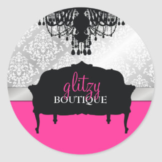 311 Glitzy Chic Boutique Hot Pink Classic Round Sticker