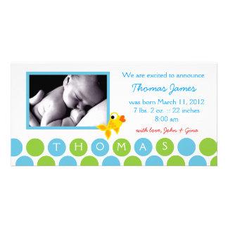 311-GOLD FINZ BABY BOY ANNOUNCEMENT 2 CARD