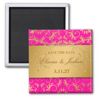 311-Golden diVine Passion Pinkt Save the Date Magnet