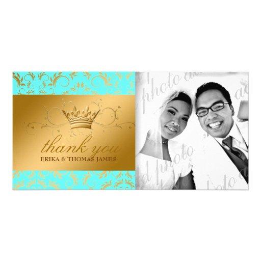 311-Golden diVine Turquiose Thank You Photo Card