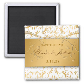 311-Golden diVine White Delight Save the Date Magnet