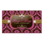 311-Golden Raspberry Chocolate Bling  Damask Business Card Templates