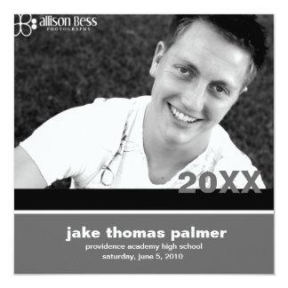 311-Graduation Announcement | Charcoal  Invitation