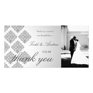 311-Gray Damask Thank You Photo Card