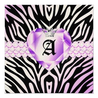 """311 Haute Heart Hot Lilac Lips Zebra Metallic 5.25"""" Square Invitation Card"""