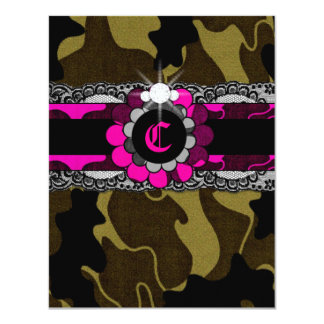311 Hott Pink Camo Sweet Sixteen Invitation
