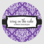 311 Icing on the Cake Purple White Damask Round Sticker