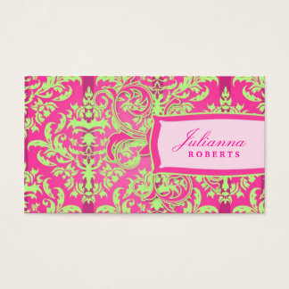 311-Julianna Lusciously Lime & Pink Damask Business Card