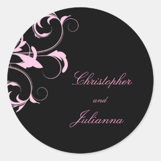311-Julianna Pink Liquorice Damask Classic Round Sticker