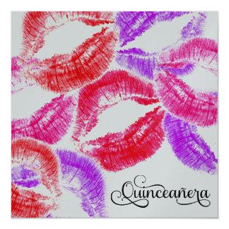 """311 Kiss Smooch Kiss Quinceañera Colorful 5.25"""" Square Invitation Card"""