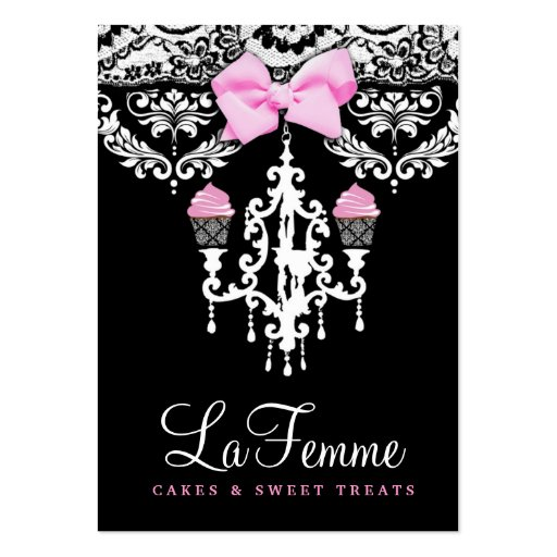 311 La Femme Cakes Black Business Card Template