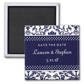 311-Lauren Damask Save the Date Navy Square Magnet