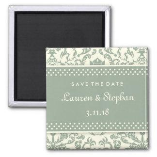 311-Lauren Damask Save the Date Sage Cream Square Magnet