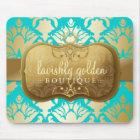 311 Lavish Golden Damask Shimmer Turquoise Mouse Pad