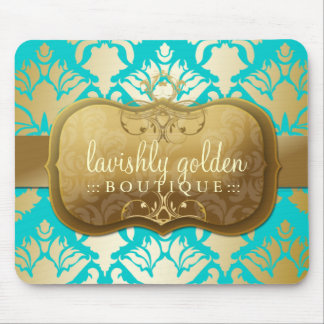 311 Lavish Golden Damask Shimmer Turquoise Mouse Pad