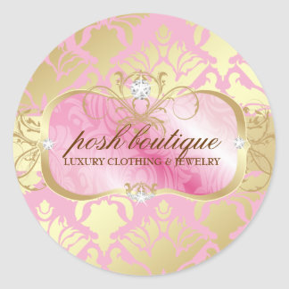 311 Lavish Pink Platter & Damask Shimmer Golden Round Sticker
