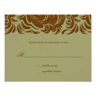 311-Lavishly Lainey Sage &  Brown RSVP Card
