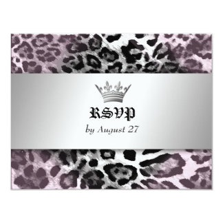 """311-Leopard-Tique Queen of Hearts Sweet 16 RSVP 4.25"""" X 5.5"""" Invitation Card"""