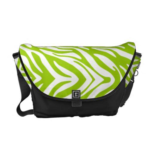 311 Lime Green Zebra Print Messenger Bag