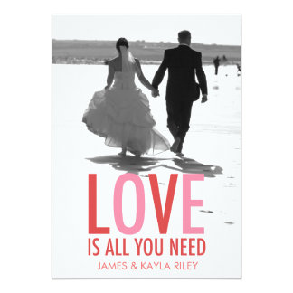 """311 Love is All You Need Newlywed Photo Valentine 5"""" X 7"""" Invitation Card"""