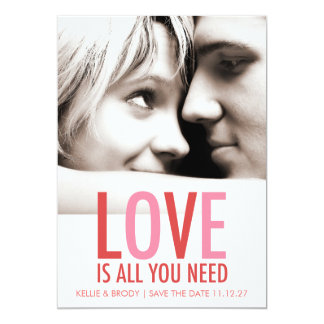 "311 Love is All You Need Valentine Save the Date 5"" X 7"" Invitation Card"