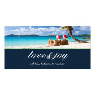 311-Love & Joy Custom Photo Navy Blue Card