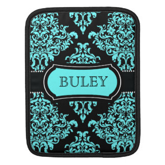 311 Lovey Dovey Damask Turquoise Black iPad Sleeve