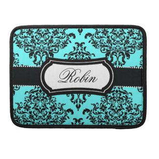 311 Lovey Dovey Damask Turquoise Black Sleeve For MacBooks