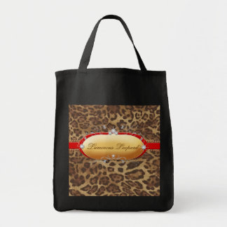311 Luminous Leopard Red Grocery Tote Bag