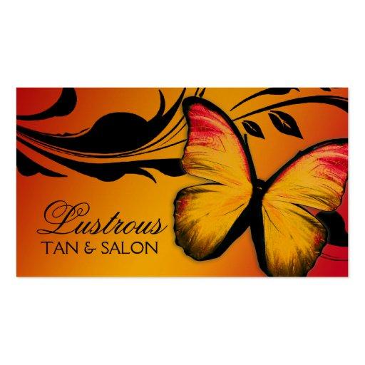 311 Lustrous Butterfly Sunset Golden Metallic Business Card Template