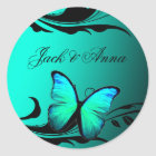 311 Lustrous Butterfly Turquoise Blue Classic Round Sticker