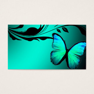 311 Lustrous Butterfly Turquoise Blue Name Card