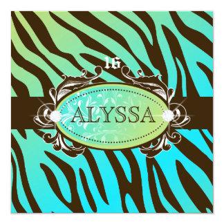 311-Luxuriously Oceanic Zebra Sweet 16 Card
