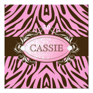 """311 Luxuriously Pink N Brown Zebra 50 and Fabulous 5.25"""" Square Invitation Card"""