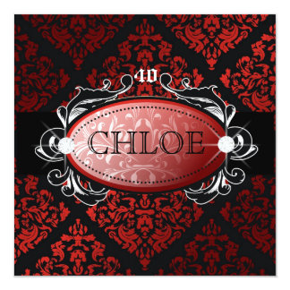 "311-Luxuriously Red Liquorice Damask 40 5.25"" Square Invitation Card"