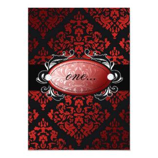 311-Luxuriously Red Liquorice Damask Invitation
